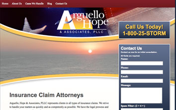 Arguello Hope and Associates Storm Damage Claim Website